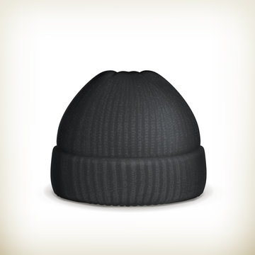 Knitted black cap