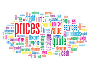 """PRICES"" Tag Cloud (products services quote info button contact)"