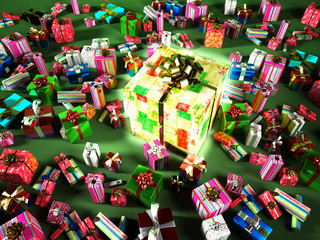 Group of many gifts, with a big central luminous gift