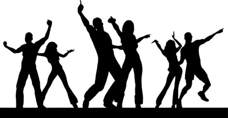 Vector black silhouette illustration of a people group dancing.