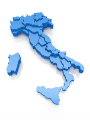 Three-dimensional map of Italy