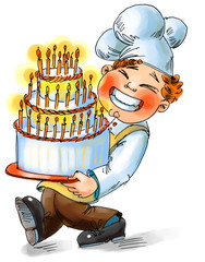 Chef holding a big cake with candles. Hand drawn