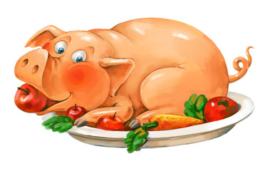 Dish of pork. Funny pig lies on a plate. Freehand drawing
