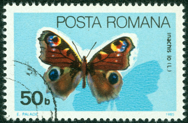stamp printed in Romania showing Peacock butterfly