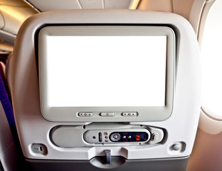blank LCD monitor in airplane