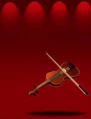 A Beautiful Violin on Red Elegant Theater Stage