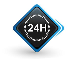 Fototapete - icône 24 heures sur bouton carré bleu design