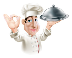 Cartoon chef with serving tray