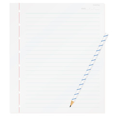 one piece memo paper and pencil isolated on white background
