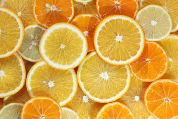 Tuinposter Plakjes fruit Orange