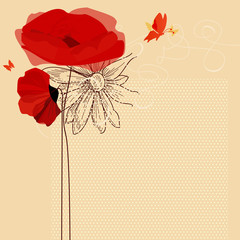 Spoed Fotobehang Abstract bloemen Floral invitation, poppies and butterfly vector