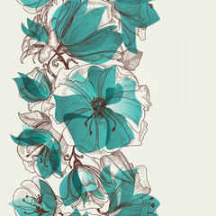 Spoed Fotobehang Abstract bloemen Flower seamless pattern vector