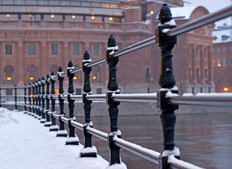 Stockholm parliament building in winter