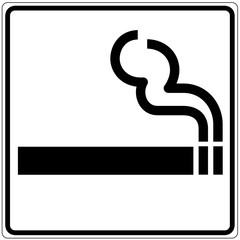 Papier Peint - Schild weiß - Zigarette