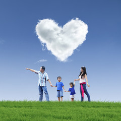 Beautiful cloud love and family on blue sky
