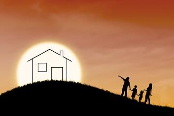 Dream of family house on orange sunset background