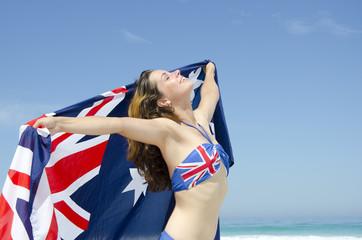Sexy woman Australian flag at beach