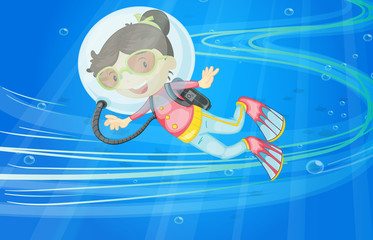 Poster Submarine under water girl