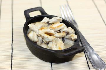 émincé de poulet sauce champignons