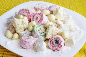 The Turkish sweets on a plate