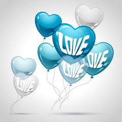 Background with flying balloons in the shape of a heart.