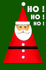 card design with santa in the shape of triangular christmas tree