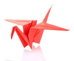 Origami crane isolated on white
