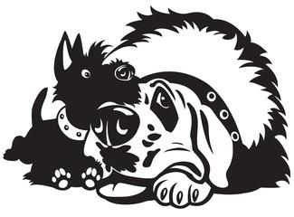 cartoon dogs black white
