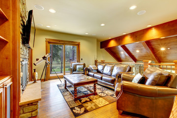 Large luxury living room with leather sofa and TV.