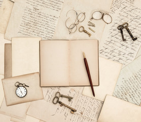 antique accessories, old letters, watch and keys