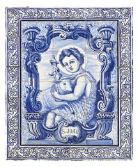 ancient portuguese tiles with saint john