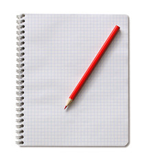 notepad and red pencil