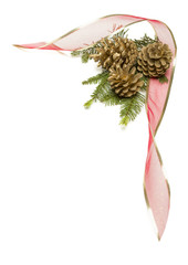 Pine Cones, Red Ribbon and Pine Branches Isolated on White