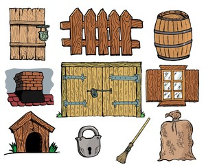 Set of hand drawn, vector illustration of vintage rural objects