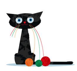 Naklejka premium Kot kreskówka i nić Ariadny przędzy