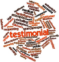 Word cloud for Testimonial