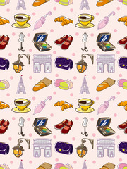 seamless Paris element pattern