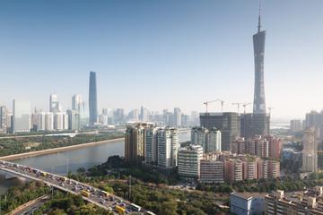 Panorama of Guangzhou in daytime, Zhujiang New Town.