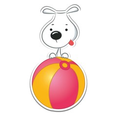 Funny dog sitting on the ball. Sticker. Vector illustration