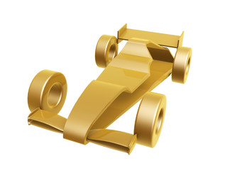 golden race car curve