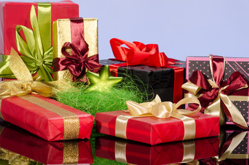 Colorful gift boxes and christmas arrangement