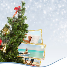 Christmas Tree with exotic vacation postcard