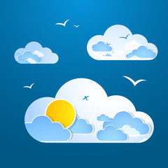 Weather in cloud. Vector. Summer theme