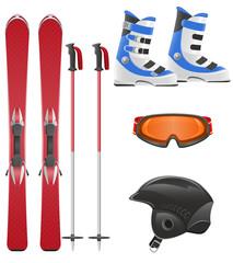ski equipment icon set vector illustration