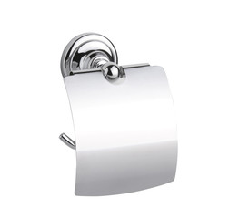 Metallic chrome tissue paper holder isolates on white