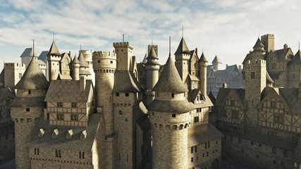 Medieval or fantasy town rooftops
