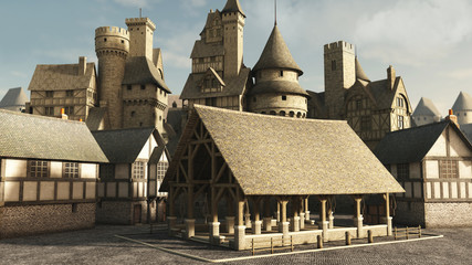 Wall Mural - Medieval or Fantasy Town Marketplace
