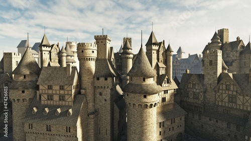 Fototapete Medieval or fantasy town rooftops