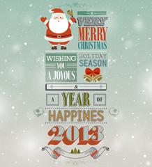Wall Mural - Christmas vintage greeting card.