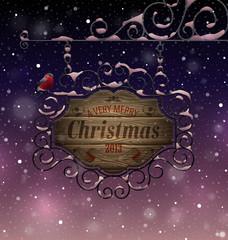 Wall Mural - Christmas vintage greeting card